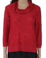 Emaline Women Sweater Holiday Red Size 3X Plus Petite Sequin Cowl Neck $54- 135