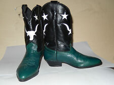 LAREDO Kids Real Cowboy Boots Leather Dk Green Black White Sz 11 NEW