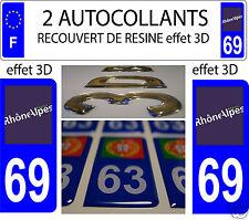 2 STICKERS RECOUVERT DE RESINE PLAQUE IMMATRICULATION RHONE ALPES RHONE 69