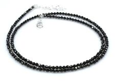 "Black Spinel Necklace Sterling Silver Jewelry 3  2.5 MM 16"" to 22"" Birthday Gift"