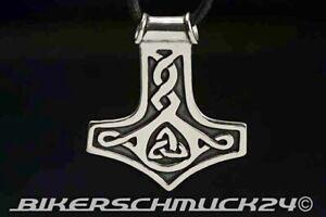 Thors Hammer Schmuck Anhänger mit keltischen Knotenmotiven 925 Silber Geschenk