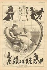 Valentine's Day, Romance, Children, Postal Mail Vintage, 1879 Antique Art Print,