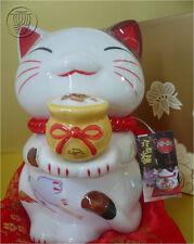 "Japanese 7.5"" Porcelain Maneki Neko Cat Holding ""TAKARA"" Treasure Bag /Coin Bank"