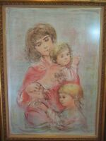 LTD ED EDNA HIBEL MOTHER & TWO CHILDREN ETCHING PRINT W/WOODEN FRAME, SIGNED