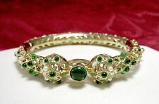 RARE GOLD TONE HINGED BANGLE WITH PEARL SEED & GREEN TOURMALINE BRACELET