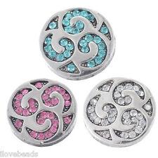 3PCs Snap Buttons Rhinestone Crystal Rotate DIY Bracelet Necklace Decor 20.5mm