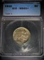 1913 Buffalo Nickel, ICG 65+,1ST. Year Classic, Gem Grade +, Toned, Issue Free