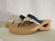 Skechers Women's 9 Cali Slip On Sandals Thong Polka Dot  Lock & Key Wedge New