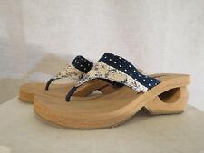 Skechers women's 9 Cali Slip On Sandals Thong Polka Dot  Lock & Key Wedge New