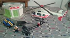Playmobil Bundle Rescue Helicopter/Cafe/Speedboat Trailer/Rowboat/Car/Figure