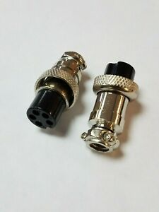 Pack of 2 - 5 Pin In-Line Mic Microphone Jack Female Mobile Connector CB Cable
