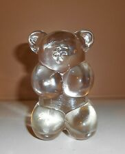 Vintage Clear Glass Sitting Bear Paperweight Figurine Statue Heavy