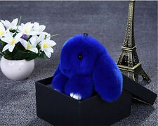 Cute Bunny Rex Rabbit Fur Phone Car Pendant Handbag Girl Key Chain Ring Pom New