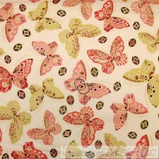BonEful Fabric Cotton Quilt Cream Pink Girl Asian BUTTERFLY Breast Cancer SCRAP