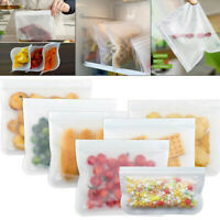 3-12Pcs Reusable PEVA Silicone Food Storage Freezer Bags Pouches Vacuum Fresh