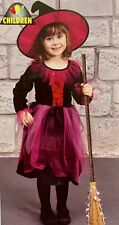 Girls Halloween Witch Costume Pink Fancy Dress Outfit Age 4 5 6 7 Yrs