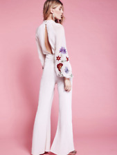 NEW Free People White Floral Smoke Rings Embroidered Jumpsuit Tie Neck Sz 0 $250