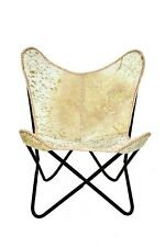 Antique Yellow Butterfly Chair Iron Stand and Leather Cover Indoor Outdoor Chair