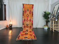 Handmade Moroccan Vintage Runner Rug 2'6x11' Geometric Berber Orange Wool Carpet