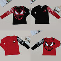 Toddler Kids Unisex Boys Spiderman Long Sleeve Top Basic T Shirt Blouse 1-7 T
