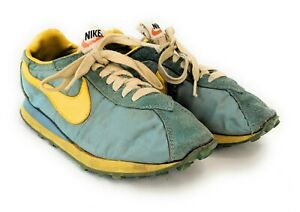 Vtg 70's Nike Teal / Yellow First Lady Waffle Trainers Made in USA orange swoosh