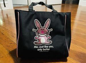 IT'S HAPPY BUNNY by Jim Benton Black Mini Bag Purse