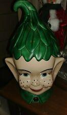 "Neat App 14"" Vintage 1978 Handmade Ceramic Elf Pixie Bright Green Cookie Jar"