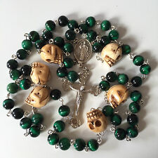 green Tiger Eye Bead Bone Skulls Rosary CRUCIFIX CATHOLIC NECKLACE CROSS gifts