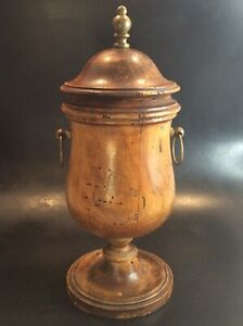 Antique Italian Turned Wood Covered Rustic Apothecary Urn/Jar with Brass Handles