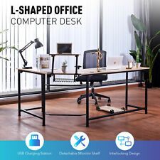 L Shaped Computer Desk With Usb Ports For Home Office Study 47x19 66x19 Oak