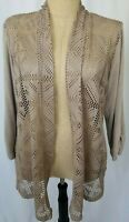 Chicos Travelers Cardigan Sweater Size 3 XL Beige Open Front Crochet 3/4 Sleeve