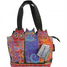"Laurel Burch Medium Tote Zipper Top 12""x3.5""x8.5""-tres Gatos - Red, Orange &"