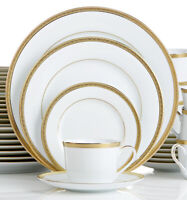 Charter Club Grand Buffet Dinnerware China Set Gold Service For 4