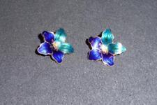 Cloisonne Enamel Post Stud Earrings ~ Gold Tone Lily Shape Royal Blue Teal