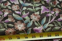 By 1/2 Yd, Floral with Metallic-Gold on Brown Quilt Fabric, Fabri-Quilt, N5511