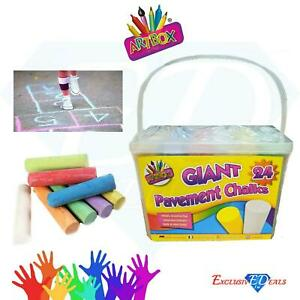 Pack Of 24 Giant Chalks Artbox Pavement Games Child Creative Fun Crosses Outdoor