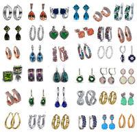 Elegant Women 925 Silver Filled Fire Opal Studs/Hoop Earrings Wedding Jewelry