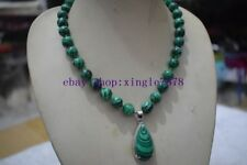 New 10mm Green Malachite Gemstone Pendant Necklace 20'' AAA 999
