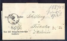 Russia(Livland), 1887, Official letter from Riga through town Wolmar to Trikaten