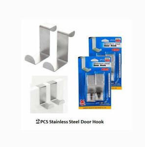 Over Door Hook Stainless Steel Reversible Cupboard Drawer Metal Hooks Hanger 2PC
