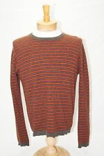Abercrombie and Fitch knit Wool Blend mens size small sweater gray and orange