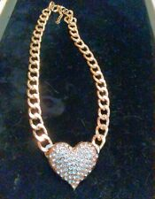 HEART SLIDE PENDANT/ AUSTRIAN CRYSTAL ON 20 INCH FIGARO YELLOW GOLD/ STERLING