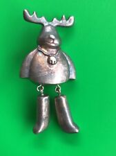 Reindeer Christmas Brooch Pin with Articulated Legs Pewter
