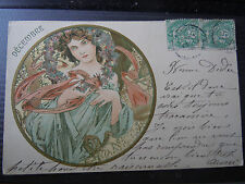 Vintage 1906 CPA Postcard A. Mucha - Champenois: Serie 4, December mailed 1906