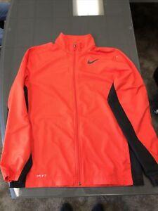 Nike Running Dri-Fit Red Black Full Zip Mens Jacket Medium