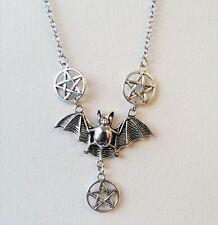 Tono Plata Gótico Pentagrama Pentáculo Bat 3 Collar Colgante Cadena De Halloween