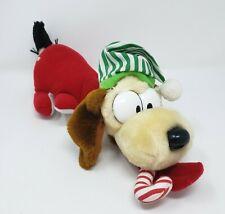 "12"" VINTAGE 1983 GARFIELD ODIE CHRISTMAS PUPPY DOG W CANE STUFFED ANIMAL PLUSH"