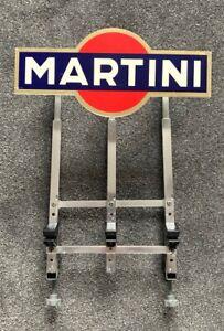 3 X Old Vintage Chrome Retro Optics Bracket With Martini Sign Pub Bar Mancave