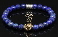 Lapislazuli blau - goldfarbener Löwenkopf - Armband Bracelet Perlenarmband 8mm