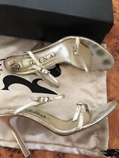 SIZE 5.5 EU 38.5 GINA GOLD LEATHER DIAMANTE STRAPPY HIGH HEELS DAINTY EVENING